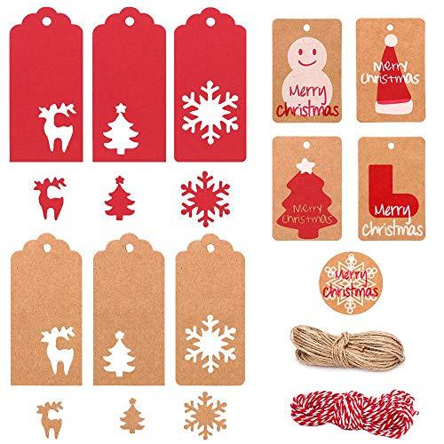 MonQi Carino Tag regalo di Natale, 220pcs Etichette di carta kraft di Natale con 20m Spago di Iuta e 10m di Filo Rosso, 6 stili Modello Traforato e 5 stili Motivi Natalizi Motivo Stampato