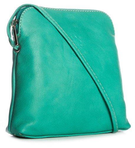 BHBS Kleine Handtasche für Dame für überqueren in weichem italienischen Leder echte und 17x 17x 3cm (lxaxp), Blau - blau - türkis - Größe: Einheitsgröße (Designer Handtasche Türkis Italienischen)
