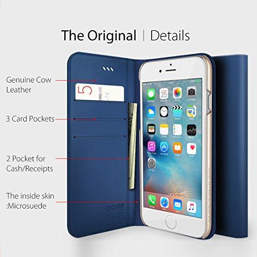 iPhone 6S Plus Fall, araree® [das Original] Premium Echtleder Wallet Case Flip Cover Mit Kreditkarte ID Halter für Apple (2015) blau