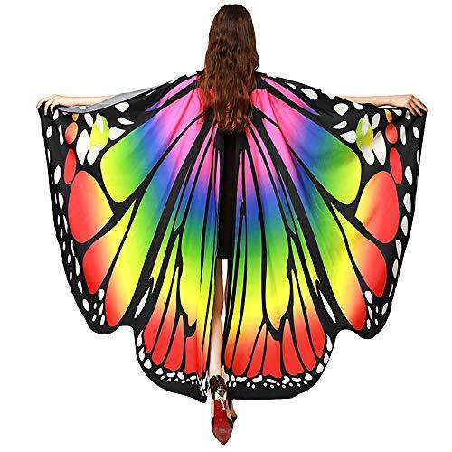 AiSi Damen Strand Überwurf, Chiffon Schal, Schmetterling Kostüm, Schmetterling Flügel Schal, für Cosplay Weihnachten und Urlaub am Strand (Bunt 2)