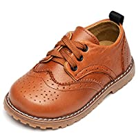 UBELLA Toddler Boys Girls Breathable Hollow Leather Lace Up Flats Oxfords Dress Shoes Yellow Size: 7.5M US Toddler