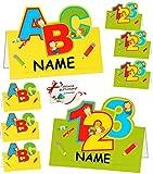 alles-meine.de GmbH 24 Stück _ Tischkarten / Platzkarten -  Schulanfang & Schultüte  - für Jungen & Mädchen - zum Schulanfang & Schuleinführung / Kindergeburtstag - Party Karte..