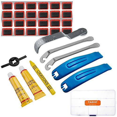 Tagvo Kit de Herramientas de Reparación de Neumáticos de Bicicletas, Palancas Cuchara, Llanta Pinchada Parche Agujeros, Caja Portátil de Emergencia Bici