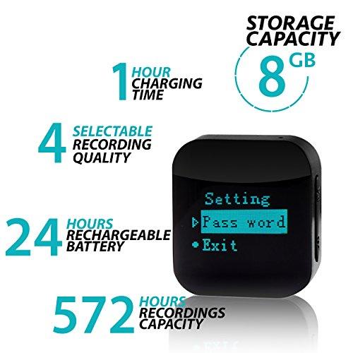 aTTo Spionage Recorder – Mini Diktiergerät, Stimmenaktivierung, Passwortschutz, 24 Stunden Akku, 570 Stunden Aufnahme, 8GB, USB-Anschluss, Schwarz