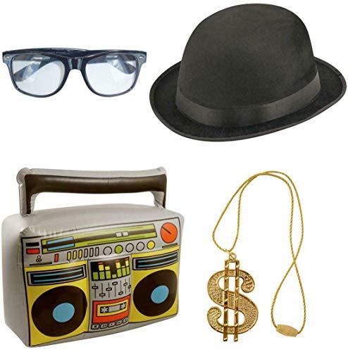 Erwachsene 80er Jahre Hip Hop Gangster Kostüm Zubehör Halskette Boom Box Hut Brille Gr. onesize, 80s Hip Hop Accessory Set