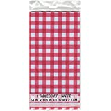 Unique Industries Plastic Printed Tablecover 54-inch x 108-inch, Red and White Check