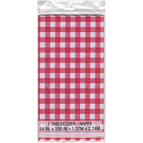ies Kunststoff Bedruckt Tischdecke 137cm x 274cm, Rot und Weiß Kariert (Rotes Papier Tischdecken)