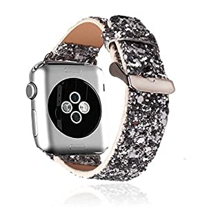 Apple Watch Band,RUIHUI?Extreme Deluxe 3D Bling Leather Bracelet Smart Watch Band Wristband Replacement W/ Metal Adapter Clasp & Stainless Steel Buckle For Apple Watch & Sport & Edition (38mm Grey)