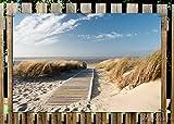 Wallario Garten-Poster Outdoor-Poster - Auf dem Holzweg zum Strand in Premiumqualität, Größe: 61 x 91,5 cm, für den Außeneinsatz geeignet