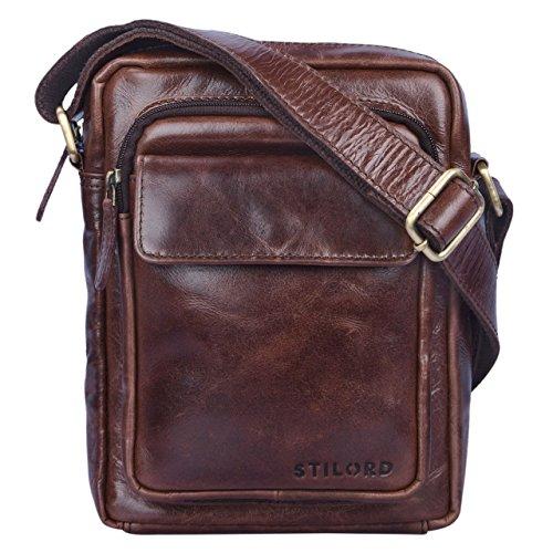 STILORD 'Jannis' Leder Umhängetasche Männer klein Vintage Messenger Bag Herren-Tasche Tablettasche für 9.7 Zoll iPad Schultertasche aus echtem Leder, Farbe:schokoladen - braun -