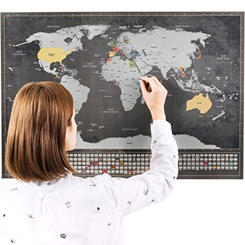 Mappa grattabile del mondo con bandiere XXL e mappa del Regno Unito formato A4, poster personalizzato per tenere traccia dei propri viaggi,design unico di Enno Vatti (argento, 84x 58cm)