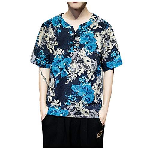 Junioren Waffel (Haughtily Männer Casual Baumwolle Leinen T-Shirt Rundhals 1/2 Ärmel Bedruckte Knöpfe Lose Sweatshirt Tops Bluse)
