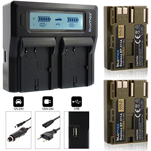 2x Blumax Gold Edition Akku BP-511 / BP-511A 2040mAh + Doppelladegerät BP-511 / BP-511A Dual Charger | passend zu Canon EOS 5D/ 10D/ 20D/ 300D/ 30D/ 40D/ 50D uvm || 2 Akkus gleichzeitig Laden