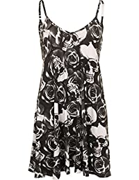 Plus Size Womens Printed Strappy Sleeveless Ladies Mini Dress Vest Top - 16-26