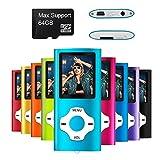Mymahdi lettore portatile MP3 / MP4, blu con schermo LCD da 1,8 pollici e slot per schede micro SDHC, supporto micro SD TF da 128GB
