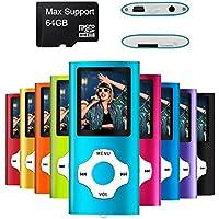 Mymahdi reproductor portátil MP3/MP4, azul claro con pantalla de 1,8 pulgadas LCD y ranura para tarjetas micro SDHC, tarjeta de 128 GB de micro SD de alta capacidad SD TF