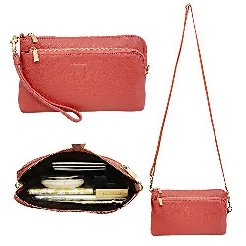 Belfen Saffiano- Borsetta da donna, con cinturino e tracolla, in pelle, con scomparti per carte di credito, cinghia a tracolla e cinghia da polso, per cellulari, 15 x 7,8 x 0,76 cm, colore: nero Coral Pink lychee