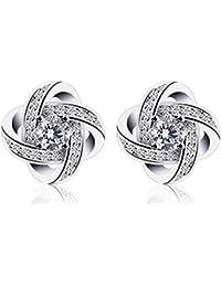 b098d712e B. Catcher Twist – Basic Love 925 Sterling Silver Cubic Zirconia Women Stud  Earrings Set