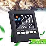 HUABEI Orologio Sveglia con Termometro e Igrometro digitale, Display Digitale a Schermo LCD Termometro Monitor con Orologio Digitale, Calendario, Retroilluminazione