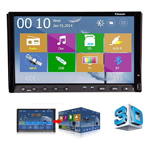2015 New 3D UI Design Ouku 7-Inch Double-DIN In Dash Car DVD Radio Stereo Player Head Deck Touchscreen LCD Monitor with DVD/CD/MP3/MP4/USB/SD/AMFM/RDS/Bluetooth and GPS Navigation Rotate Menu HD:800*480 LCD Free GPS Antenna+Free Official GPS Map Updatable  available at amazon for Rs.26210