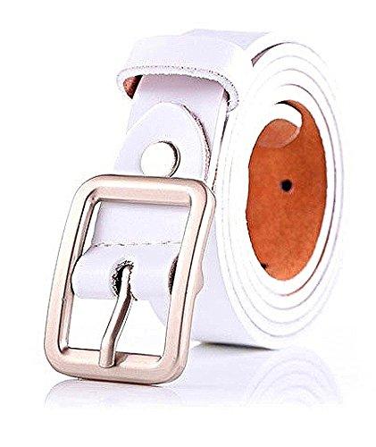 FIA MONETTI Cinturón de cuero para mujer  con moderna hebilla  ancho 2 3 cm