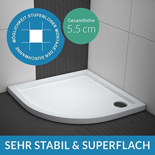 Duschwanne AQUABAD® Comfort Villa Flat 90x90cm Flach Viertelkreis R55
