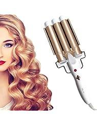 Lockenstab, Aibeau 3 Dreifache Fässer Lockenstab Haarwickelzange Hair Waver Pearl Waving Lockenwickler, mit LCD-Display, Wellenstyler Turmalin Keramik Digitale Temperaturanzeige (GOLD)