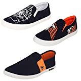 #3: Super Men Canvas Blue Combo Pack of 3 Loafers & Moccasins