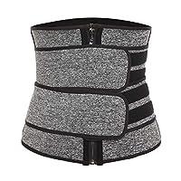 Vaslanda Neoprene Sauna Waist Trainer Trimmer, Workout Weight Loss Belt, High Compression Sweat Body Shaper with Zipper Gray-3 S