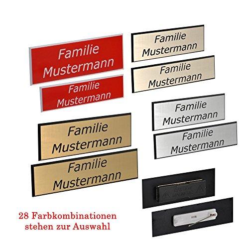 Namensschild inkl. Gravur, Facette mit Magnet oder Nadel - 34 Farbkombinationen - 41 Schriften - Logogravur, Größe:75 x 20 mm;Befestigung:Magnet (Schach-kühlschrank-magnete)