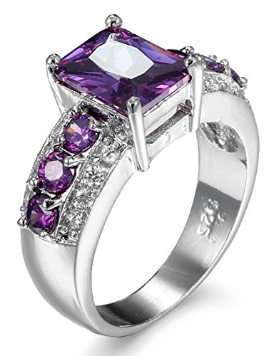 La Vogue Bague Rubis Améthyste Citrine Topaze Saphir Diamant Faux Mariage Fiançailles Femme Violet #2