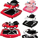 PREMIUM Lauflernhilfe/Babyschaukel mit Spielcenter (12 Melodien) & Tablett (SCHWARZ/WEIß)
