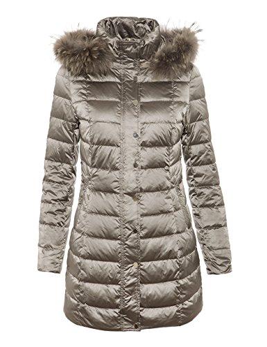 MOTIVI: Piumino donna con cappuccio staccabile, bordo in pelliccia vera. Grigio, taglia 40