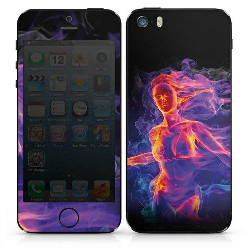 Apple iPhone 4 Case Skin Sticker aus Vinyl-Folie Aufkleber Feuer Frau Zaubern DesignSkins® glänzend