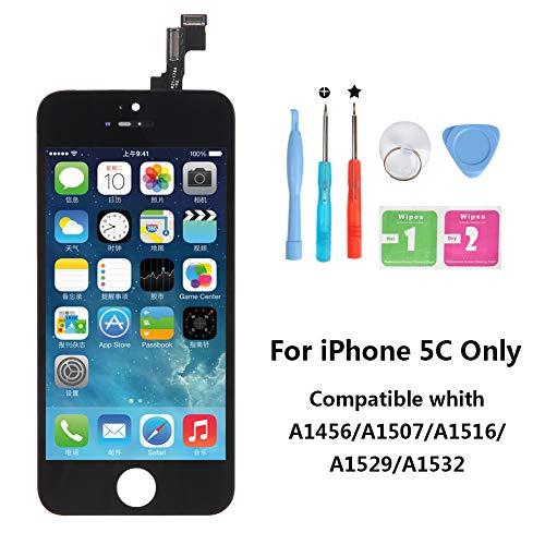 Rarlon Écran Tactile Screen de LCD Remplacement pour iPhone 5C (Noir) Tactile Reparation Screen Complet avec Full Assembly Repair