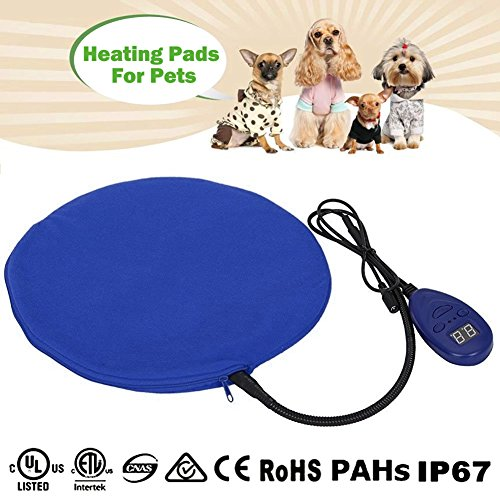 12W Heat Pads for Pets Zuoao Electric Heating Pad Waterproof Heated Pet Pad Warming Cat Dog Cushion Bed With Anti Bite Tube & Soft Removable Cover,7 Temperature 25?- 55? Adjustable for Pet Dog Cats