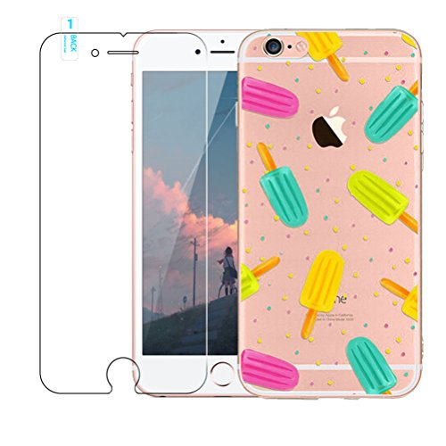 iPhone 6/6s Coque [avec film de protection d'écran en verre trempé], Blossom01Ultra mince souple en gel TPU Coque de protection en silicone avec motif de dessin animé pour iPhone 6/6s, girafe, iPhone Popsicles