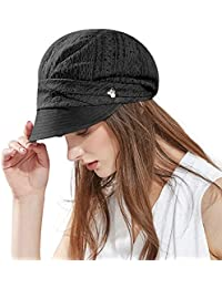 Ladies Summer Baker Boy Cap Newsboy Hats Visor Beret Sun Hat for Women  Casual Cloche Peak Cap Light   Soft Lined… 093bff901f21