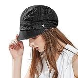 SIGGI Damen Schirmmütze Sommerhut faltbare Barett Mütze mit Visor Schwarz