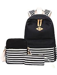 a5abef5577e0 abshoo Causal Canvas Stripe Backpack Cute Lightweight Teen Backpacks for Girls  School Bag Set (Black