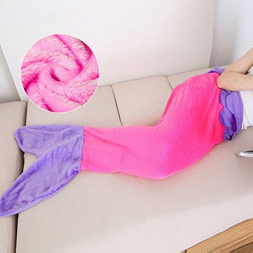 Sacco a pelo, coperta a forma di coda di sirena, in flanella, flanella, rosa porpora , bambino