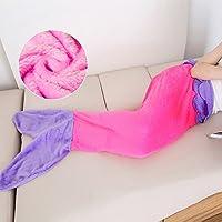 Meerjungfrau Decke Kinder Schlafsack Flanell Mermaid Blanket (Rosa-Lila, Kinder)