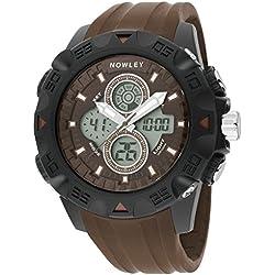 Nowley 8-6218-0-3 , Reloj de hombre, analógico-digital marrón