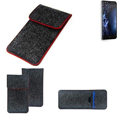 K-S-Trade® Filz Schutz Hülle Für -Doogee Y6 4G- Schutzhülle Filztasche Pouch Tasche Case Sleeve Handyhülle Filzhülle Dunkelgrau Roter Rand