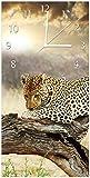 Wallario Design Wanduhr Leopard auf Baumstamm in Afrika aus Acrylglas, Größe 30 x 60 cm, weiße Zeiger