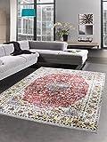 Carpetia Orientteppich Wohnzimmerteppich Vintage beige rot mit Fransen Größe 130x190 cm