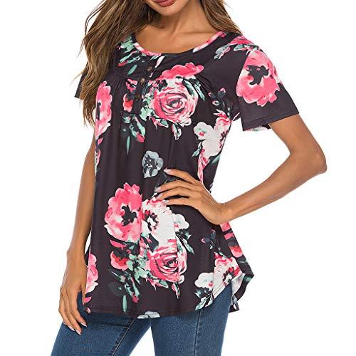 iHENGH Karnevalsaktion Damen Top Bluse Bequem Lässig Mode T-Shirt Frühling Sommer Blusen Frauen Kurzarm mit Knöpfen Sommer Print T-Shirts Tops(Schwarz, L)