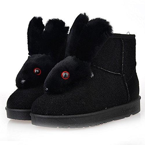 WIKAI Donna stivali Comfort Tessuto Casual invernali tacco piatto Borgogna grigio piatto nero,Black,noi6.5-7 / EU37 / UK4,5-5 / CN37 Black