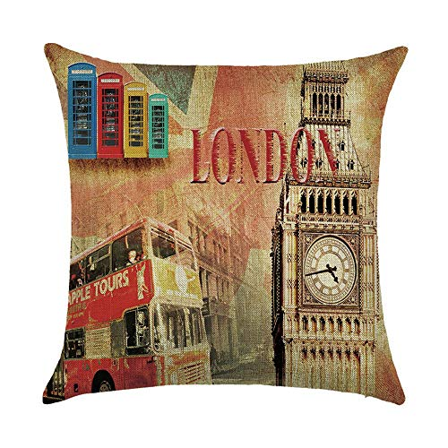 OPoplizg Nostalgic Retro City View London New York Sofa Double Sided Cushion Cover Home Pillowcase Soft Decorative Pillow Cover Black and White 45cm x 45cm(18 x 18inch) (York Halloween-partys New Queens)