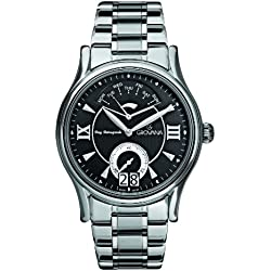 GROVANA 1715.1137 Men's Quartz Swiss Watch with Black Dial Analogue Display and Silver Stainless Steel Bracelet